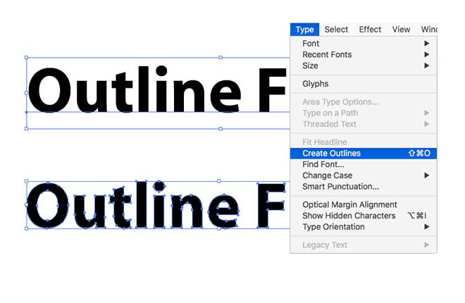 Outlining fonts in illustrator