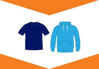 Graphic image of t-shirt & hooded sweatshirt